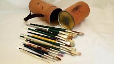 15 USED PAINTBRUSHES IN MASTERSON NEW BRUSH QUIVER WINSOR NEWTON ETC
