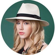 Men Women Straw Wide Brim Panama Hat Sunhat Sombrero Sunbonnet Fedora Trilby Cap