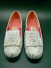 Realites by Oomphies Vintage Silver Brocade Low Block Heel w/ Beading Size 8.5M