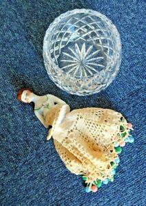 Lovely Diamond Cut Glass Sugar/Sweets Bowl1930s, 100mm D, 70mm H, Porcelain Cove