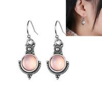 1Pair Rainbow Moonstone Gemstone Jewelry 925 Silver Plated Dangle Earrings