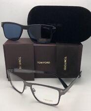 New TOM FORD Eyeglasses TF 5475 12V 54-17 Ruthenium Frame w/ Blue Clip On Lenses