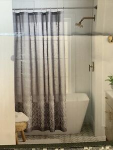 "Threshold Embroidered Bathroom Shower Curtain 72"" x 72"" 100% Cotton Gray BOHO"