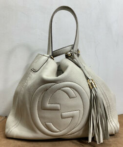 Auth GUCCI 282309 Soho Cellarius Cream Leather Tote Bag Made In Italy