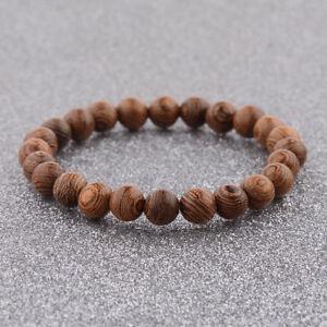 Fashion 8mm Wood Beads Crown Energy Yoga Reiki Women  Men's Couple Bracelets New