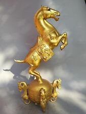 31'' bronze gild gold carved Bronze Galloping war Horse on Dragon war drum