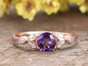2.20Ct Round Cut Purple Amethyst Solitaire Engagement Ring 14K Rose Gold Finish