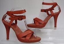 Shellys 7 / 40 Pale orange Leather strappy Ankle v High stiletto studded Sandals