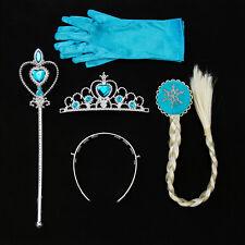 Girls Frozen Elsa Princess Crown Magic Wand Gloves Hair Wigs Cosplay Costume Set