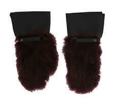 NEW DOLCE & GABBANA Gloves Black Leather Bordeaux Shearling Fur s. 9.5 / L