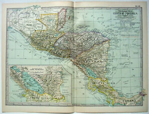 Central America - Original 1902 Map by The Century Company. Antique Map