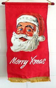 Vintage Merry Christmas Santa Flag Wall Hanging Xmas Decoration