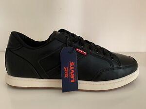 LEVI'S Mens Cypress Black Trainers Deck Shoes NEW UK Size 8.5