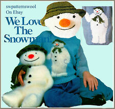 "LOVELY 17"" SNOWMAN TOY & 2 SWEATERS TO KNIT  LAMINATED KNITTING PATTERN"