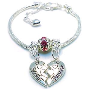 Mothers Day 925 Sterling Silver Mother Daughter Red-Pink Crystal Bracelet