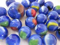 25 Glass Marbles BLUE DOLPHIN White/Green/Red Shooter Patch game marble lot