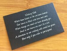 50 x BLACK Wishing Well Cards - Printed And Cut - Wedding Invitations - Inserts