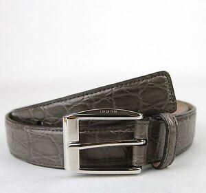 $895 NEW GUCCI Mens Crocodile Belt with Classic Square Buckle 336831 e710n