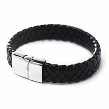 New Punk Men Stainless Steel Black Leather Surfer Cuff Wristband Bracelet Bangle