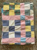 Vintage Quilt Top, Hand Pieced Quilt Top colorful Scrappy 68x86 flaws