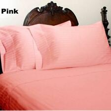 Queen Size Pink Striped Sheet Set 1000 Thread Count Egyptian Cotton