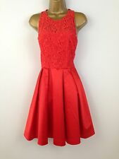 New Karen Millen Red Satin Lace Ballgown Prom Evening Dress Wedding UK Size 10