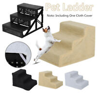 3 Steps Pet Stairs Soft Portable Cat Dog Step Ramp Ladder w/ Cover for Couch Bed