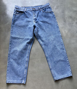 Wrangler Relaxed Fit Premium Quality Denim Stone Wash Blue Jeans Mens Size 38X29