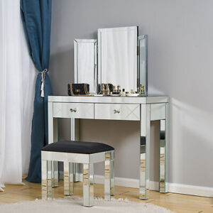 Glass Dressing Table Set  Mirrored Make-up Desk Bedroom Console Stool Mirror