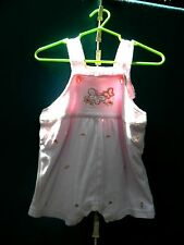 First Moments Girl's Pink Shortall w/Pink Roses 100% Cotton Size 3-6 Months