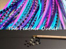 Feathers Hair Extensions Kit, lot of 10, saddle long skinny real natural B1 KIT