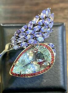 NATURAL AQUAMARINE 18X11 TANZANITE SAPPHIRE DIAMOND CUT STERLING SILVER 925 RING