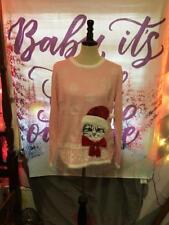 Really Ugly Christmas Sweater Pink Christmas Santa Cat Womens Size Large 12-14