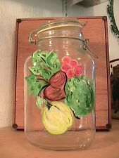 Hand Painted Kitchen Storage Jar with Glass Lid and Wire Closure