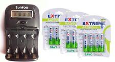 UNiROSS LCD 1-2 HOUR AA/AAA  Battery CHARGER& 12 x AA 2900 mAh Rechargeable Batt