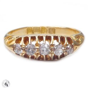 Antique English solid 18ct gold old cut diamond ring Chester 1920 half hoop