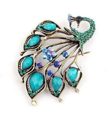 BROOCH Peacock Turquoise Rhinestone Pin-on Brooch Mothers Day Gift