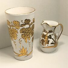 "Matching Handmade & Painted 9"" Vase 5 1/2"" Pitcher Italy GOLD Raised Grape Vines"