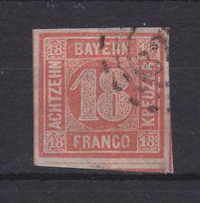 Bayern - 1866, MiNr. 13b, 18 Kreuzer, in b.-Farbe mit allseits breiten Rändern !