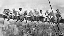 A0 print post vintage photo New York building lunch black white photo work men