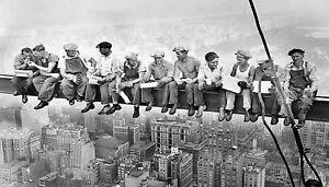 Framed print vintage canvas  New York building lunch black white photo work men