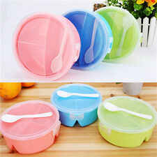 Round Portable Microwave Lunch Box Picnic Bento Food Container Storage+Spoon MW