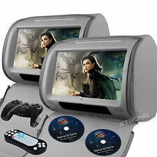 "Gray Headrest 2X 9"" Touch Screen Game Handle Car Monitor Pillow USB DVD Players"