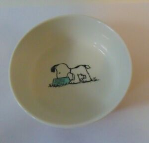 "Peanuts SNOOPY PINK STRIPE - Dog or Cat Food / Water Dish Pet Bowl 5"" Stoneware"