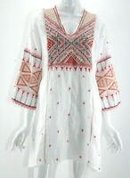 NWT $275 Johnny Was Workshop White Embroidered Thora V-Neck Toledo Tunic Small