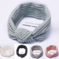 Women's Knotted Hair Band Wash Face Bath Makeup Wrap Soft Elastic Cute Headband