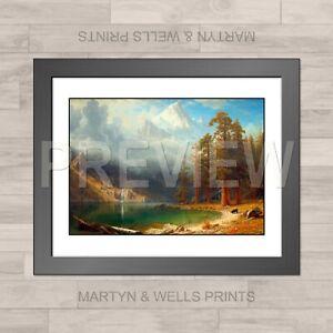 Albert Bierstadt framed print: Mount Corcoran. 400x325mm. Textured canvas paper