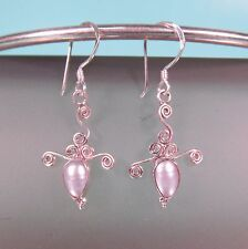 "1"" Long Teardrop Pearl 925 Sterling Silver Handmade Dangle Earring"