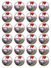 "x24 1.5"" I Love Steam Trains Locomotive Engine Cupcake Topper On Rice Paper"