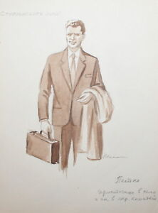 VINTAGE 1950'S MAN WITH SUITCASE PORTRAIT WC PAINTING SIGNED